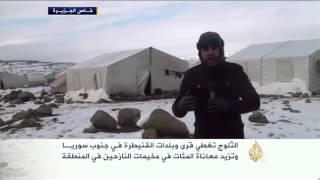 الثلوج تغطي قرى وبلدات القنيطرة في جنوب سوريا