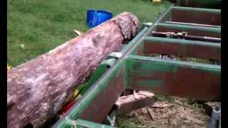 BAND  SAWMILL hydraulic log lifter in use