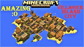 MCPE 1.2.5 - VILLAGER CITY ISLAND ! 4 BLACKSMITHS, MUSHROOM BIOME, 2 OCEAN MONUMENTS MAP