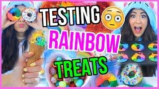 Testing CRAZY and WEIRD Rainbow Treats!!