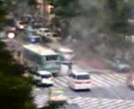 van catches fire at Shibuya Tokyo pedestrian crossing