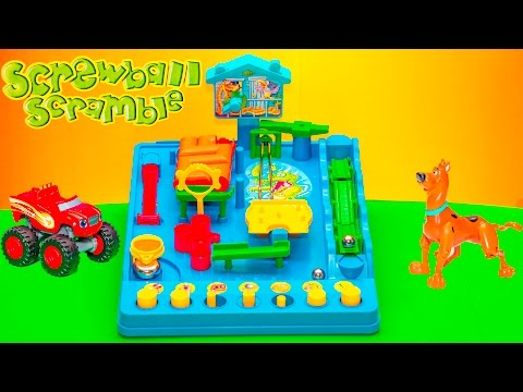 Playing the Screwball Scramble Game with Scooby Doo and Blaze Toys