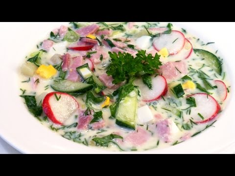 Okroshka - traditional Russian summer cold soup with ham  based on sour cream