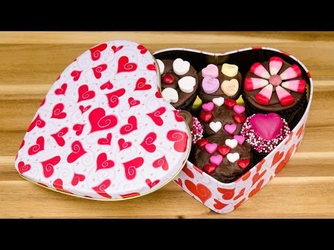 Box of Chocolate Cupcakes:  Valentine's Day Cupcakes from Cookies Cupcakes and Cardio
