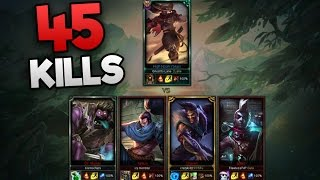 Ghost to Lane vs Four Silvers (1v4) 45 KILLS?!? - League of Legends