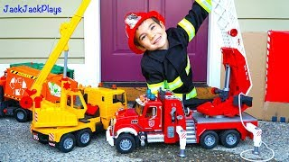 Giant Surprise Box Toy Truck Unboxing - Fire Engine, Garbage Trucks, Crane - Playing