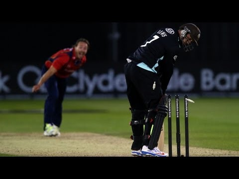 Graham Napier took four wickets in four balls as Essex beat Surrey in the Yorkshire Bank 40 on Monday night.