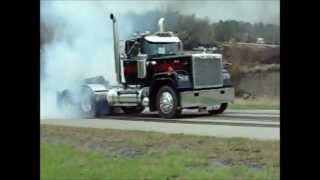 Mack Superliner doing burnouts Mack Customer Center test track Allentown, Pa.