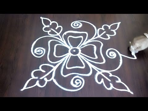 Easy Rangoli  Design   ||  Very Easy Kolam With Leafs And Flower Design || Fashion World
