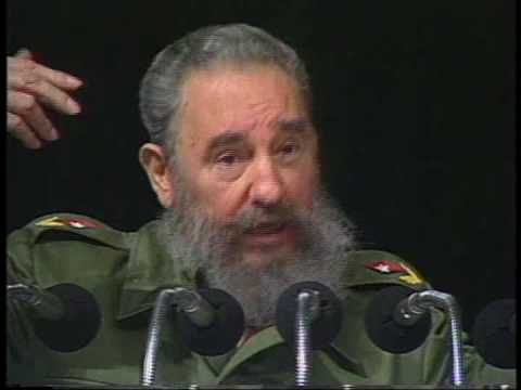 Fidel Castro in his prime, providing an excellent example of his wit,   idealism, analysis. This is offered particularly to those under the spell of U.S. propaganda\'s demonization of Castro, to see and hear Fidel for themselves.  Fidel explains the US has been making cruel economic war against Cuba, not only refusing to trade with it, but using its great power to prevent most other countries from trading with Cuba, and resorting to tactics of assassination and persistent subversion. Cuba was forced to turn to the USSR to trade its sugar for necessities and when the USSR fell, Cuba had to endure the loss of 70% of its trade.  But the Cuban people endured this painful \