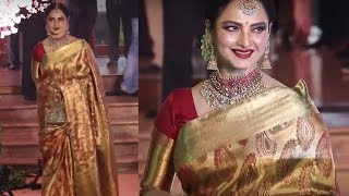 Evergreen Rekha Looks Gorgeous In Silk Saree At Shaina Nath Wedding
