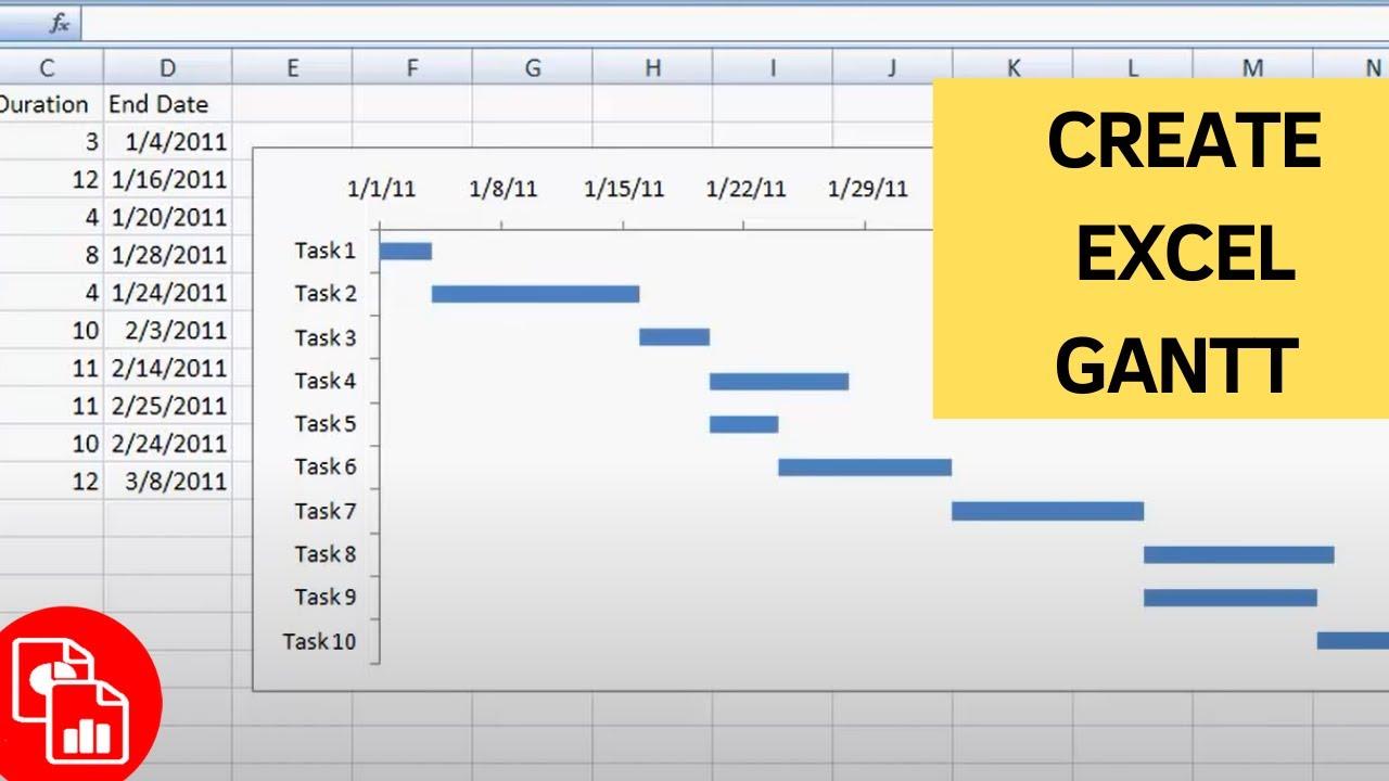 Create A Basic Gantt Chart Youtube
