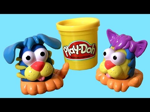 Play Doh Shape a Pet & Make a Puppy or Kitty with PlayDough Animal Activities