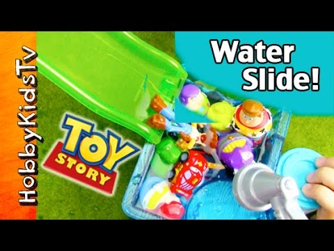 Toy Story Water Slide Zing-ems + Micro Drifters! Disney Cars, Planes By Hobbykidstv video