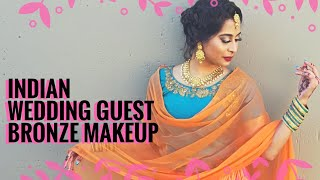 Indian wedding guest makeup and hair | Golden bronze eye makeup | Chermel's World