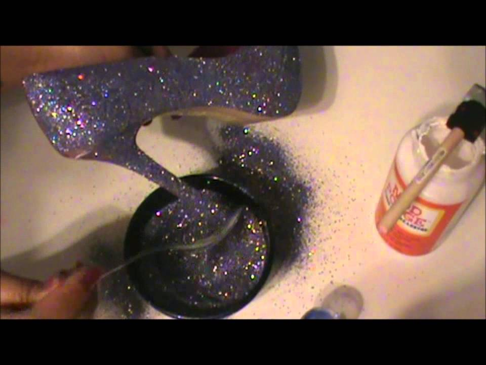 Step 3: Once shoes are dry, lightly tap shoe once again to get rid of excess. Apply another coat of glitter using the same method. Let dry. If needed or if you want a thick, opaque glitter, apply another coat and once again, let dry for the same length of time. Step 4: Once .