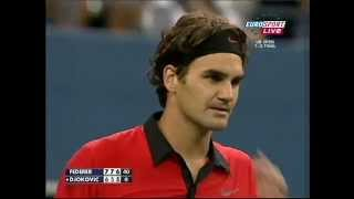 Roger Federer best point in tennis history. US Open Semi final 2009 افضل نقطة بالتنس