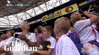 Excelsior fans throw hundreds of soft toys to fans visiting from children's hospital