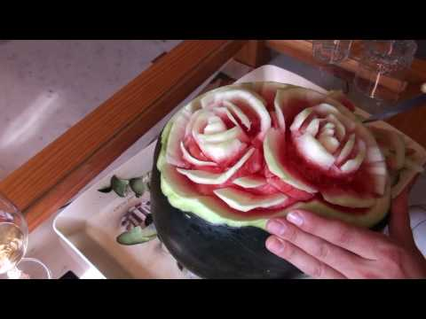 How to do fruit carving - Watermelon roses
