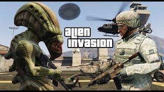GTA 5 - Người ngoài hành tinh xâm chiếm trái đất và kéo đĩa bay UFO đi chơi | ND Gaming