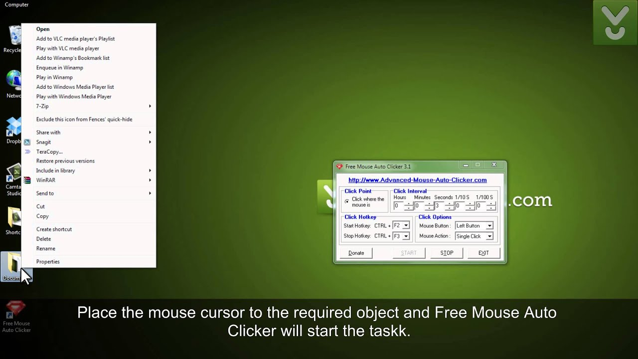 Как сделать два клика мыши