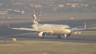 Etihad Airbus A321 landing on Runway 09 of Mumbai Airport