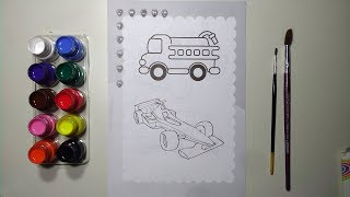 Glitter Fire truck and formula1 car coloring and drawing for Kids, Toddlers | Coloring Book Art ☆