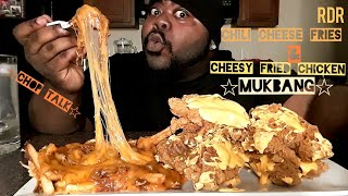 Chili Cheese Fries&Cheesy Fried Chicken Mukbang(Chop Talk)[Eating Show]