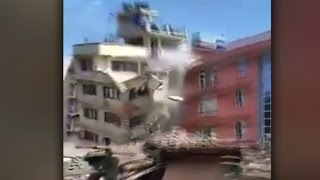 Buildings collapse during Nepal earthquake