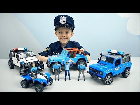 Полицейский транспорт для детей Bruder и Полицейский Даник - Внедорожник и Квадроцикл с Фигурками