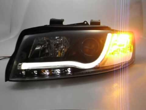 Sw Ltube Scheinwerfer Audi A4 B6 8e Lighttube Black Sw Tuning Youtube
