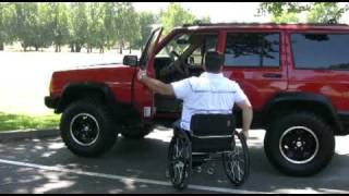 Paraplegic transfers in and out of four-door Jeep SUV with TiLite ZR