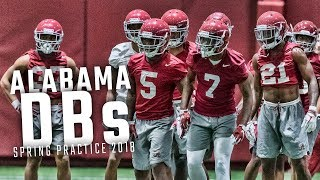 Nick Saban practices with Alabama defensive backs during Day 1 of spring practice