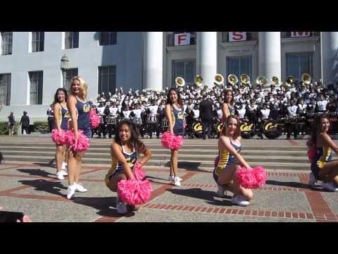 Cal Band Sproul Hall Rally vs. Washington 2014 Berkeley California