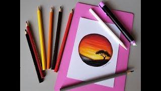 Desenhando Paisagem com lápis de Cor