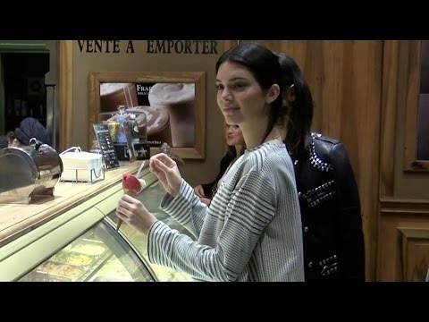 Kendall Jenner and Kris Jenner having an ice cream in Paris