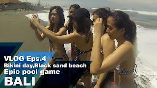 #VLOG : Episode 4 Bikini day, black sand beach, Epic pool game