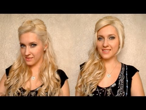 Cute half up half down party hairstyles with curls Fryzura na dlugie wlosy na impreze. studniowke