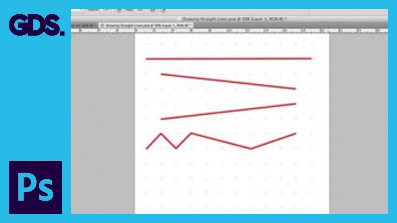 Drawing Lines With Photo Cs : Draw straight lines in adobe photoshop youtube