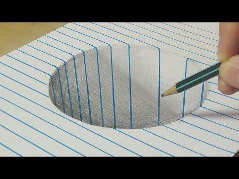 Рисование круглой дыры - Trick Art с графитовым карандашом - Vamo