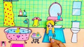 Ngôi nhà búp bê giấy #7- PHÒNG TẮM / MINIATURE DOLLHOUSE PAPER BATHROOM/ Ami DIY