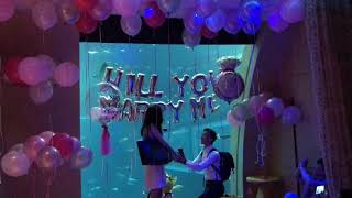 Russell and Xinyi's Underwater Proposal at Ocean Suite, Resorts World Sentosa