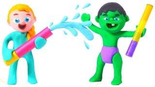 SUPERHERO BABIES HAVE FUN WITH WATER ❤ Spiderman, Hulk & Frozen Elsa Play Doh Cartoons For Kids