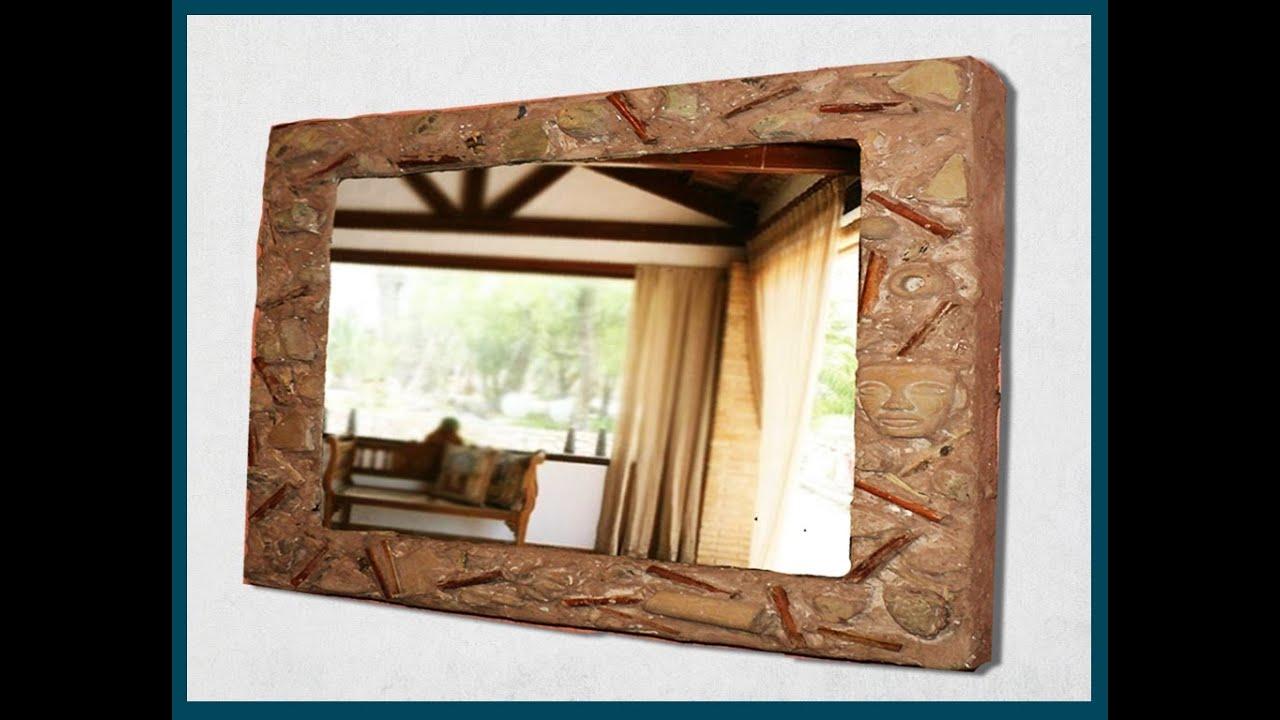 Marco de espejo con caja de pizza imitaci n barro - Marco para espejo ...