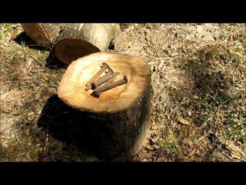 Splitting firewood with railroad spikes