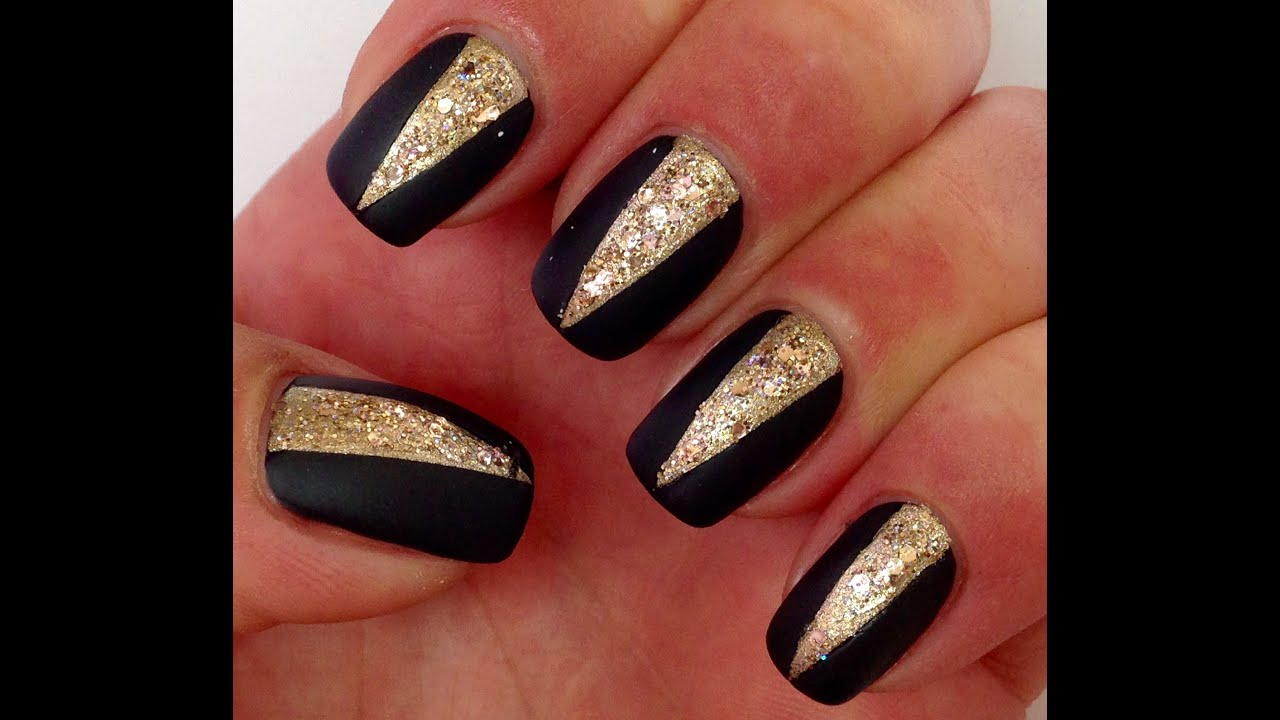 Easy Matte Black Gold Nails