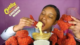 CHEESY FLAMING HOT CHEETOS FRIED CHICKEN WINGS MUKBANG 먹방 | QUEEN BEAST