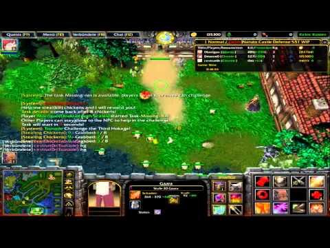 Let's Fun Warcraft 3 Battle.net - Naruto Castle Defence Part 1