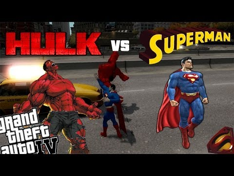 GTA 4 Red Hulk Mod + Superman Mod - Man of Steel Superman vs Red Hulk