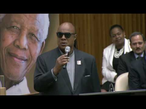 Stevie Wonder sings at the Nelson Mandela International Day event at the UN Headquarters